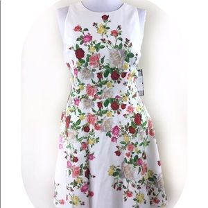 NWT Tahari White Floral Fit And Flare Dress